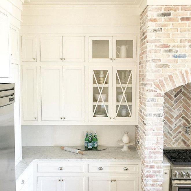 Kitchen Cabinet Paint Color Is White Dove Benjamin Moore Kitchen Brick Accent Is Reclaimed Chicago Brick With A Heavy Mortar Wash
