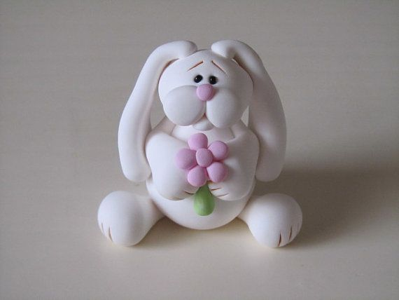 Polymer Clay Easter Bunny by ClayPeeps on Etsy