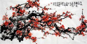 oriental asian original painting ink brush Chinese plum painting famous artist still life watercolour painting home decoration