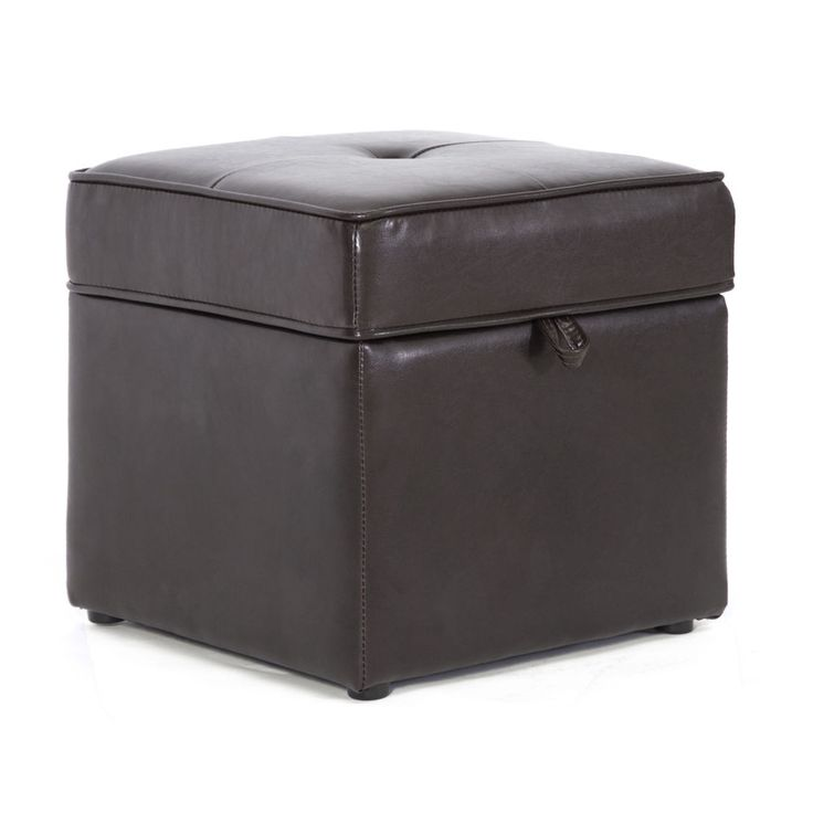 Ottoman Storage Faux Leather Bench Seat Footrest Table Coffee Espresso Brown