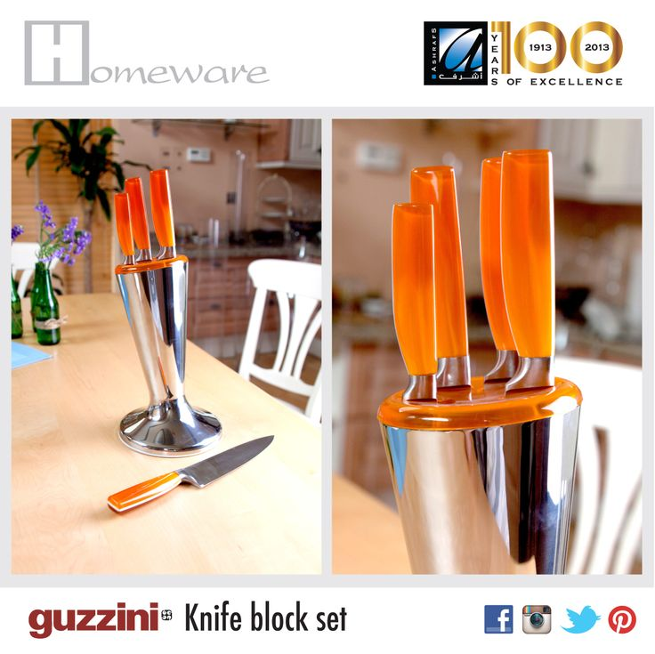 Guzzini 5-piece knife block set in orange for BD 74.000, perfect for those looking to bring life to a new home - HOORA branch + pinterest.com/ashrafsbh #guzzini #kitchenware #kitchenutensils #knife #knives #knifeset #cookware #food #orange #productdesign #modern