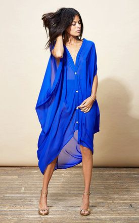 Button Down Poncho In Royal Blue - SilkFred