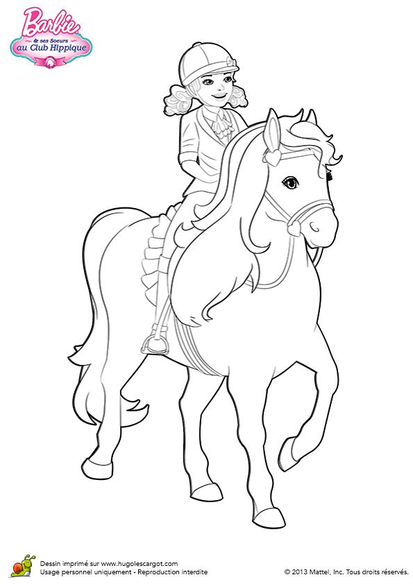 coloriage majestic le cheval de barbie sur hugolescargot