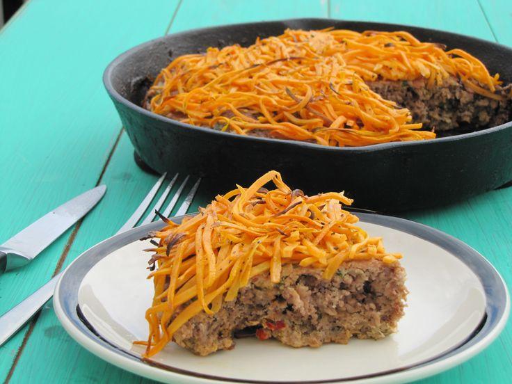 Paleo Cheddar-Topped Veggie Beef Skillet Dinner