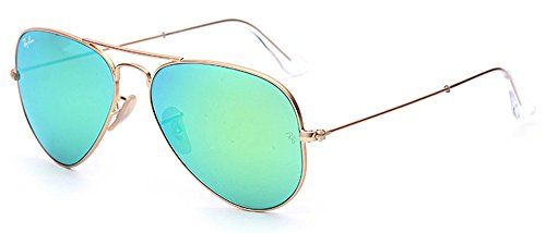 Ray-Ban Aviator 112/19 Aviator Sunglasses,Matte Gold/Green Mirror Lens,58 mm