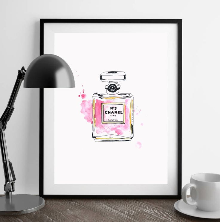 ORIGINAL Watercolour of Pink Coco Chanel no 5, Bathroom decor, perfume bottle, pink decor,  Girl bedroom, scandinavian art, Mother's Day by FrankieandPearl on Etsy (null)