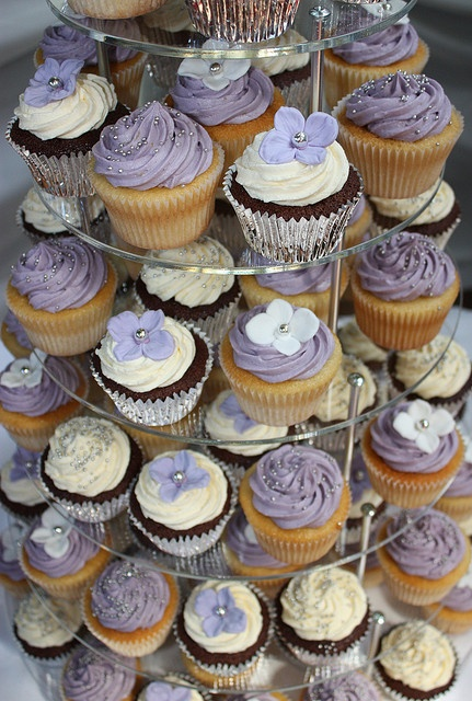 Lilac, White & Silver Wedding Cupcakes by ConsumedbyCake