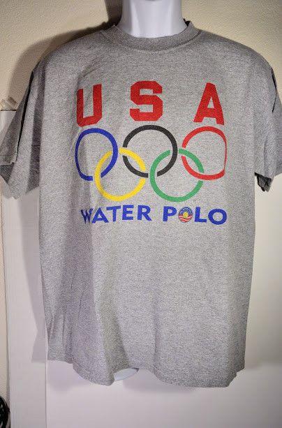 Mens USA OLYMPICS Water Polo - Size L - Ultra Cotton Heavyweight VTG - EC S/S  | eBay