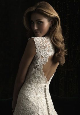 weddbook mermaid lace on tulle adds a delicate and mysterious touch to these lovely wedding dress the open back offers a great contrast meant for the