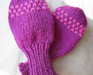 Determined to knit my toddler a pair of winter mittens that she couldn't pull right off of her hands, I devised these long-cuff, thumbless toddler mitts. They're knit from the top down, ending with a stretchy bind-off. For maximum stay-put power, the mile-long cuff is very close-fitting. And the simple colorwork chart is the easiest intarsia possible -- about as much colorwork as I can handle without causing my brain to burst like a water balloon. Enjoy!