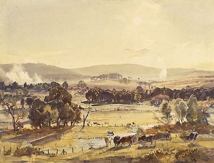 Sir Hans Heysen (1877 — 1968, Australia) An afternoon in autumn. 1924 watercolour. 46.8 x 63.3 cm.