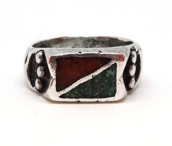 Vintage MENS Ring Sterling Silver Turquoise & Coral Band W