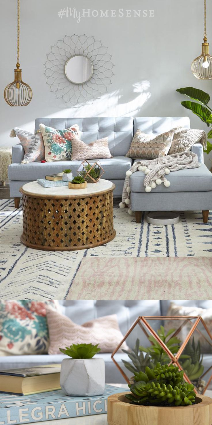 Layered, loft-style living made for lounging. Oodles of cushions, throws and oh-so-pretty rugs make for a warm welcoming space. Green touches, like a faux succulent in a chic geometric terrarium, add a fresh touch. Visit HomeSense today for endless possibilities, perfectly priced.