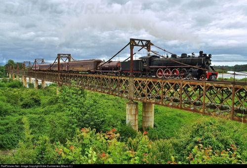 Train of Araucanía, crosses the Tolten bridge between Pitrufquen - Freire, region of Araucania in the south of Chile.