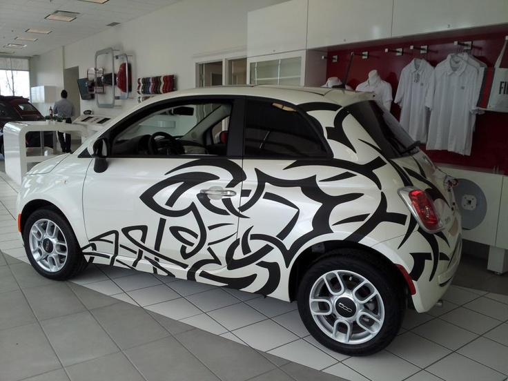 Check out this cool Tribal Tattoo wrap on this Fiat 500.