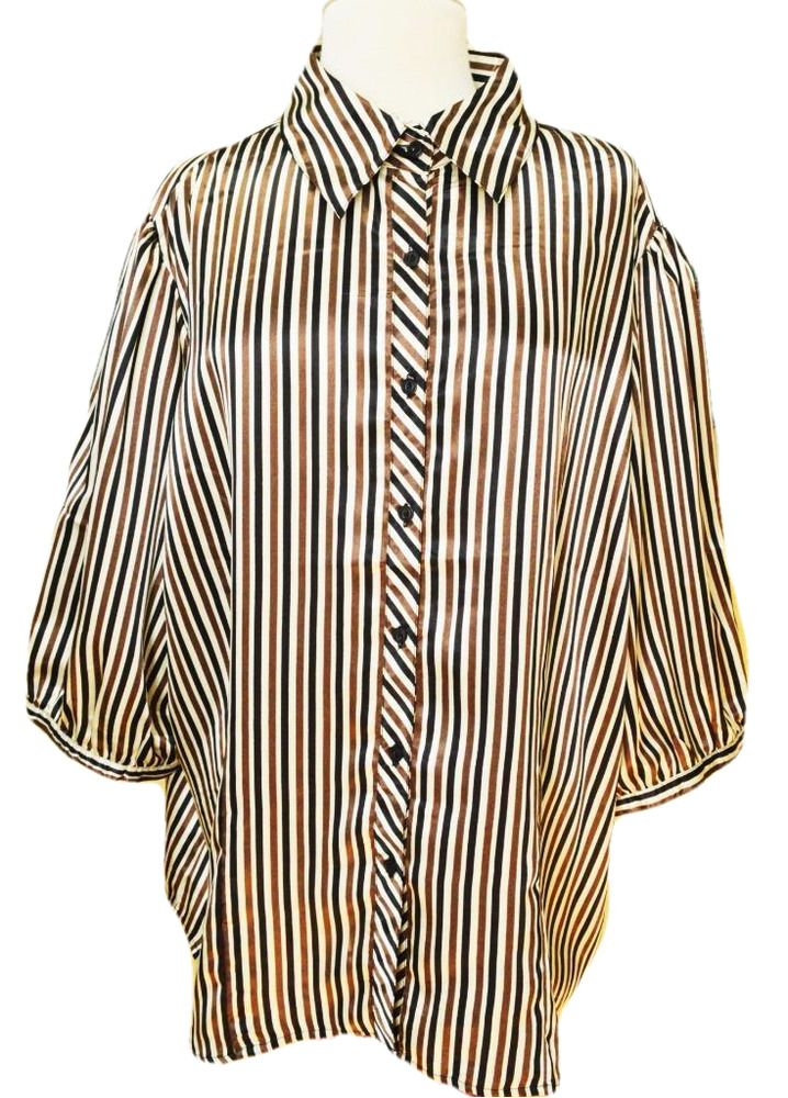 6733c70b3c A wonderful Classic Satin Striped Blouse from Ninety. Opaque polyester satin  fabric. Slightly fitted with waist darts. Sleeve(midneck/wrist)-25
