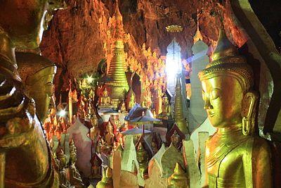 buddhas inside Pindaya Cave, Burma.