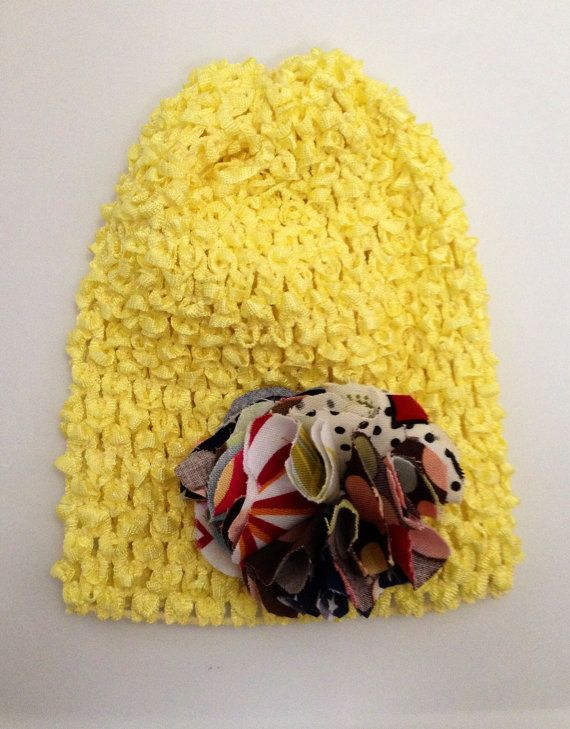 Crochet Hair Puff : Crochet Beanie Hat With Fabric Puff Hair Bow by MadeByCole on Etsy, $8 ...