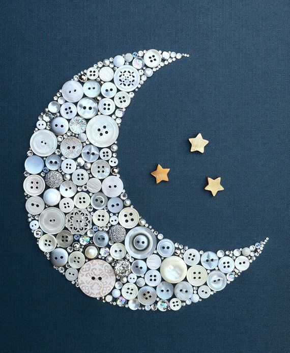 Crescent Moon and Stars Buttons Swarovski by BellePapiers on Etsy, $79.00