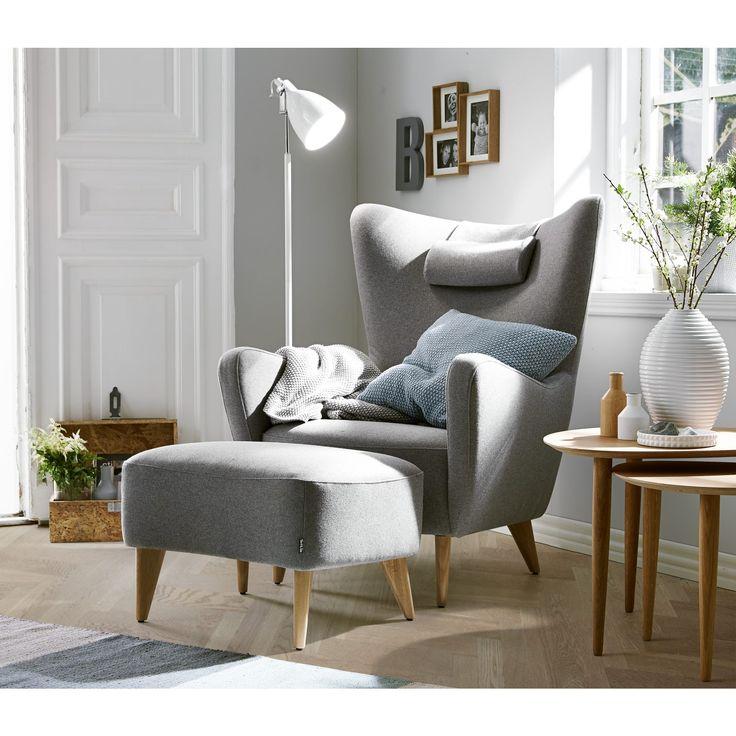 ELENA lænestol i grå monteret med uldbetræk. Ekskl. nakkestøtte (1225616)