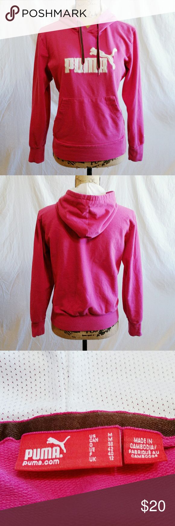 Pink Puma Pullover Hoodie - Size Medium *Reasonable offers accepted!* Pink Puma Pullover Hoodie with mesh hood lining. Size Medium. Excellent used condition. No imperfections whatsoever. Puma Jackets & Coats
