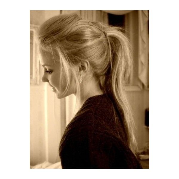 Messy half-up ponytail ❤ liked on Polyvore featuring beauty products, haircare, hair styling tools, hair, hairstyles, cabelos, people and hair styles