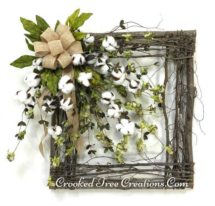 Cotton Boll Square Wreath