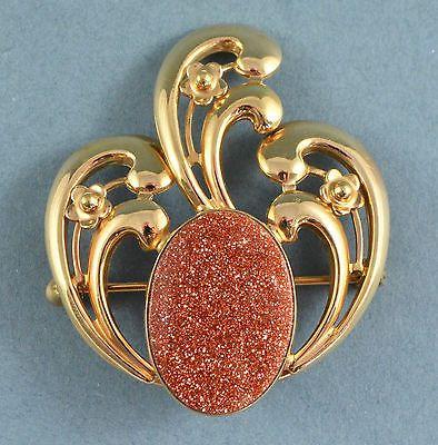 Vintage-Brooch-1950s-Art-Nouveau-Style-Goldstone-Goldtone-Retro-Bridal-Jewellery