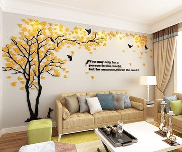 Creative Tree 3d Stereo Acrylic Wall Sticker Living Room Sofa Tv Background Wall Interior Ro Decoracao De Parede Decoracao Parede Sala Ideias De Decoracao Casa Living room background wall sticker