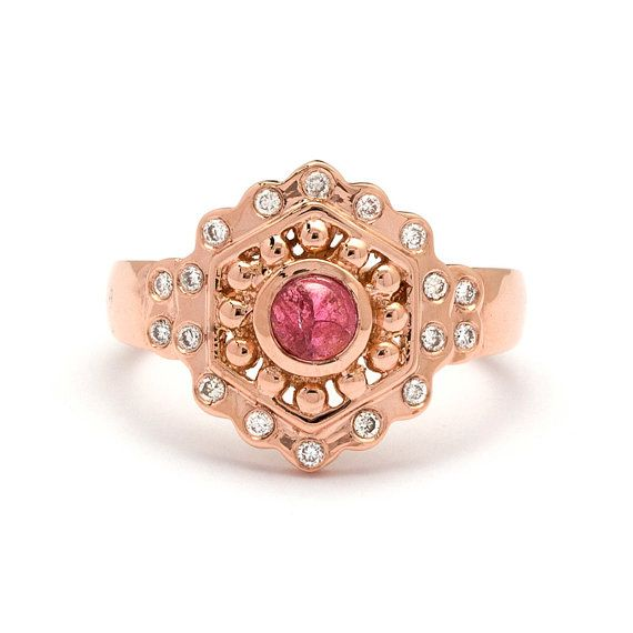 Pink Tourmaline Rose Gold Vintage Engagement Ring