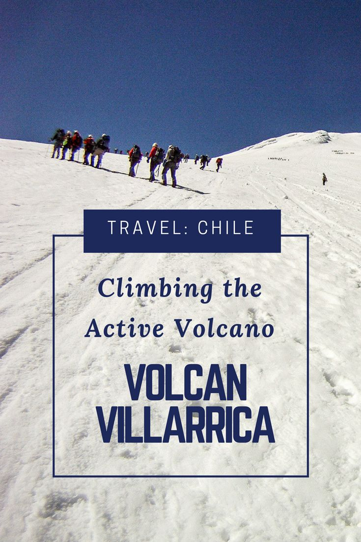 You are climbing the ice capped Volcan Villarrica in Chile; This is an exhilarating expedition. One of my top things to do in Chile. Pucon is one of the best places to visit in Chile and a mecca for Adventure Travel activities. Villarrica Volcano is an active volcano and erupted as recently as 2015. The views from the top of Villarrica are pure Travel Wanderlust.  Read more in my Chile Travel Guide. You can fly directly to Pucon or Temuco from Santiago de Chile. #chile