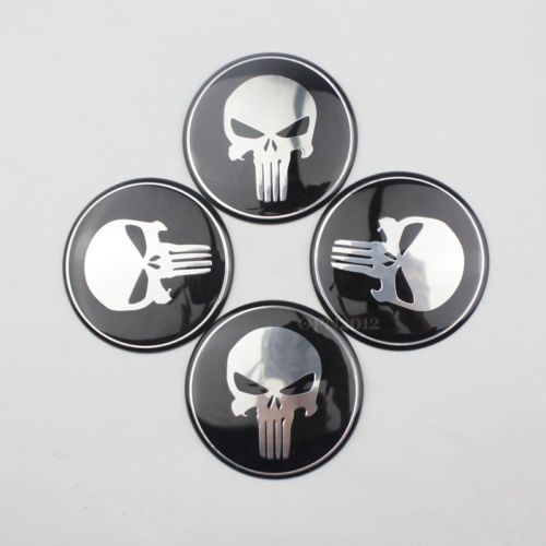 4 x Wheel Center Hub Cap Punisher Skull Emblem Badge Decal ...