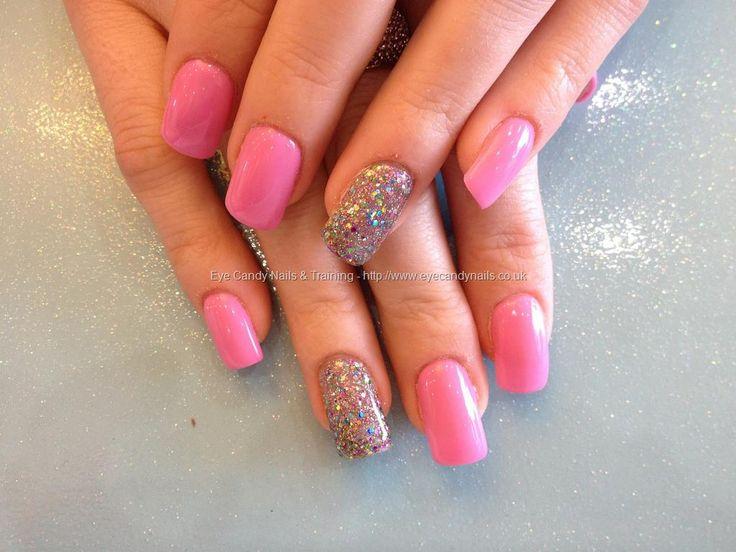 acrylic bails with pink gel polish