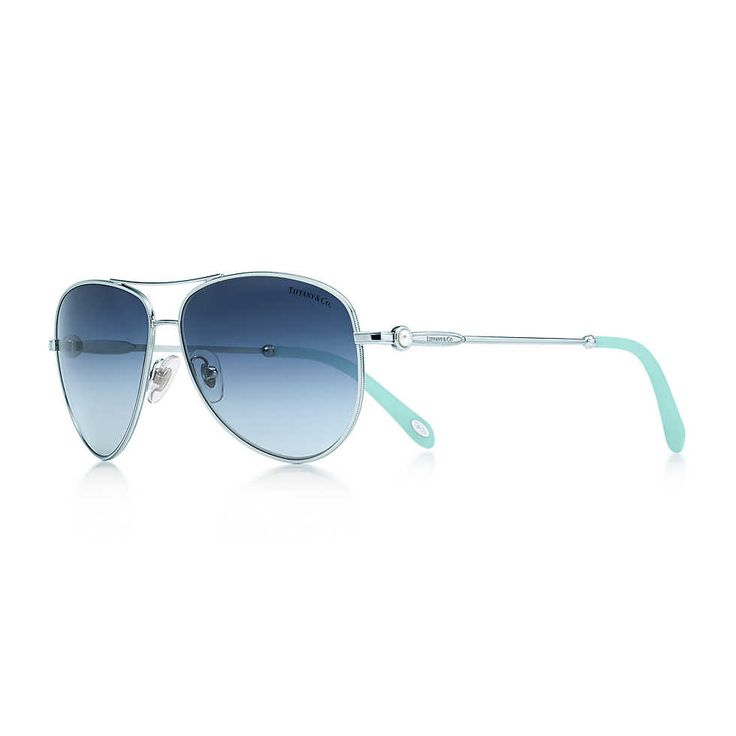 Ziegfeld Collection aviator sunglasses in silver-colored metal and acetate. | Tiffany & Co....$540