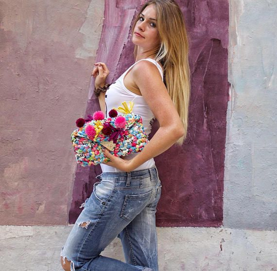 Pom Pom Bag Foldover Clutch. Adorable, bright and colourful bag! Every girl needs this to brighten up an average outfit. Made in Italy