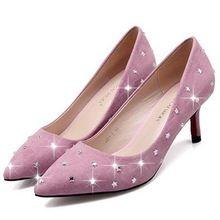 nieuwe vrouwen herfst 2015 suède comfortabel 6cm strass trouwjurk lage hakken schoenen puntige ontwerp sexy hoge hakken(China (Mainland))