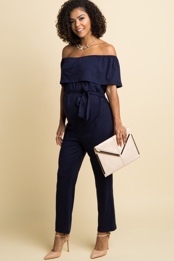 7ee021a694a5 Navy Blue Sash Tie Off Shoulder Ruffle Maternity Jumpsuit ...