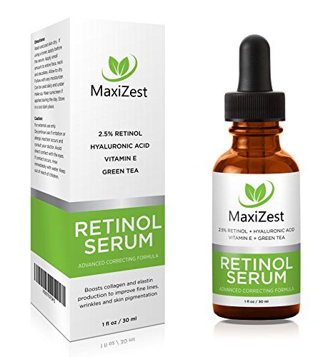 MaxiZest's Retinol Serum 2.5% - With Hyaluronic Acid + Vitamin E + Green Tea + Jojoba Oil - Our #1 Best anti-wrinkle & anti-aging serum for face, eyes, fine lines and under eye dark circles - Unclogs pores, evens skin tone, imptoves skin color - 1 OZ (30ml). Available from http://www.amazon.com/maxizest