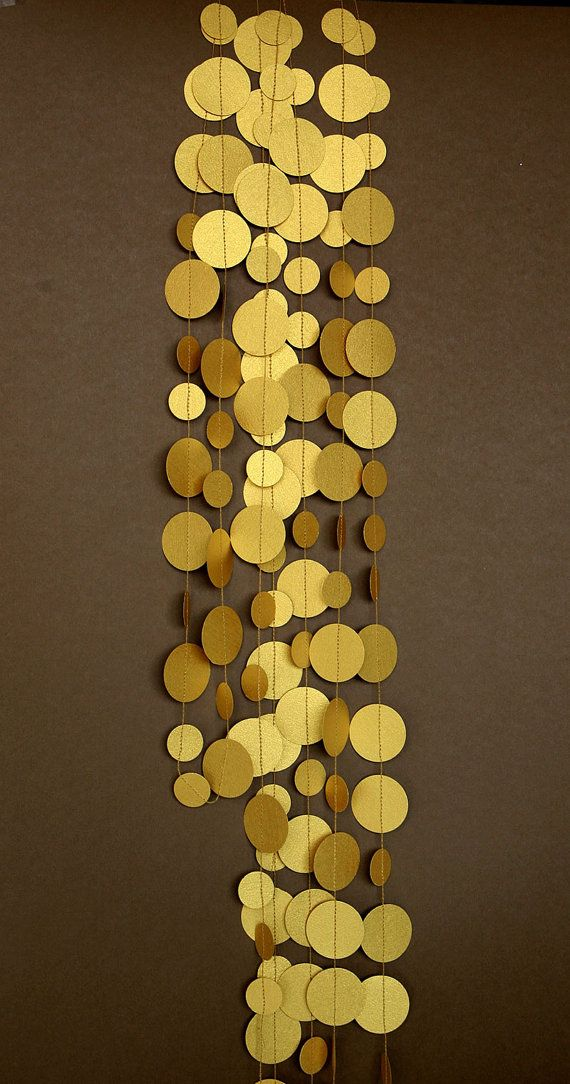 Gold garland Gold wedding garland Gold party decor Paper garland Birthday Decor Wedding decorationCircle paper garland P-C-0002 by TransparentEsDecor