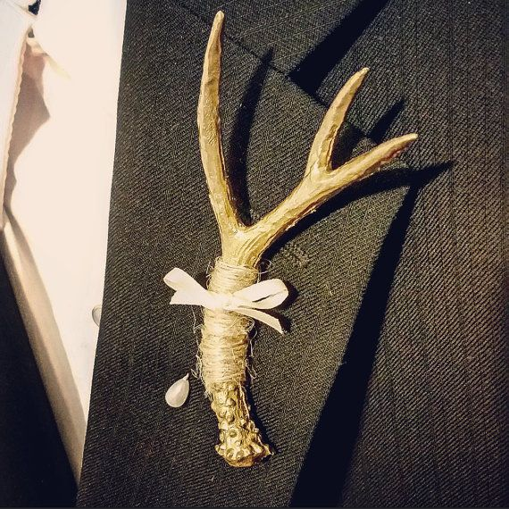 Gold Antler Boutonniere by KRISTYCLAIRE on Etsy                              …