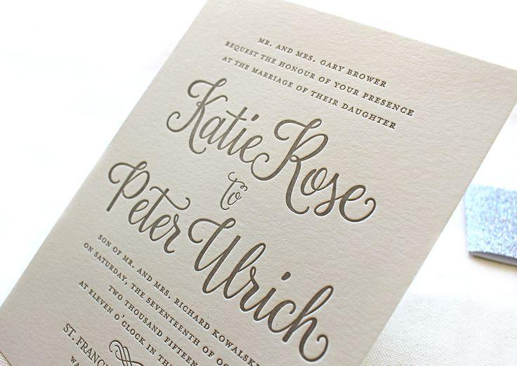 The Forget Me Not Suite, Modern Letterpress Wedding Invitations, Silver, Glitter, Winter, White, Grey, Formal, Elegant, Calligraphy, Script