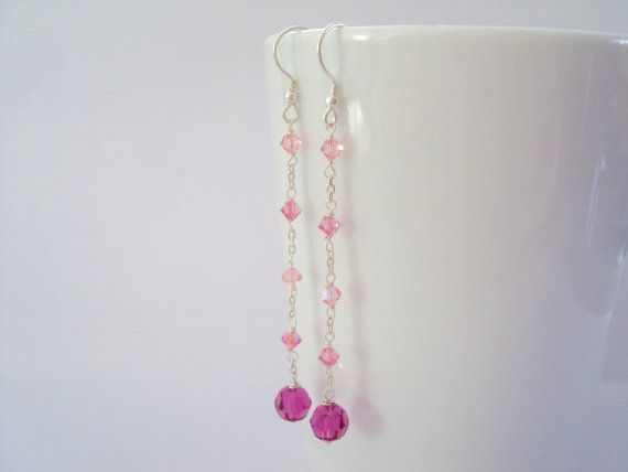 Swarovski Pink Glamorous long dangly earrings in sterling silver (925)