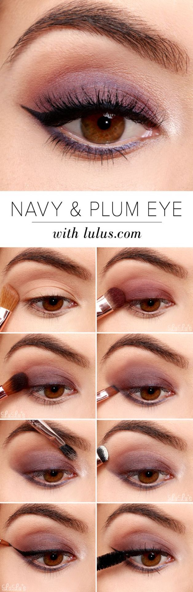 Navy and Plum Smokey Eyeshadow Tutorial #CutieMakeup #CutieBeauty #EyeShadow