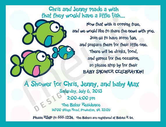 Fish Baby Shower Invitation (DIGITAL FILE)