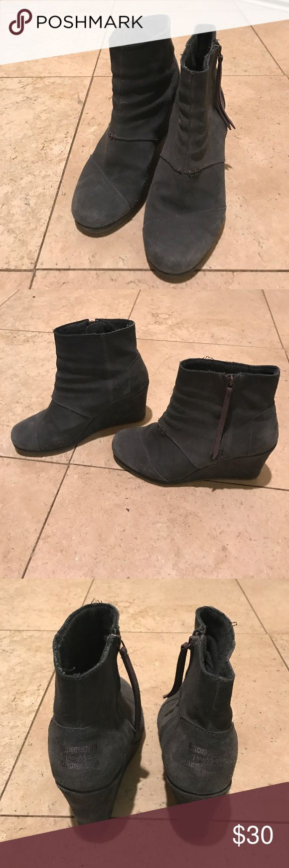 Toms Wedge Booties Comfortable. Gray. TOMS Shoes Ankle Boots & Booties