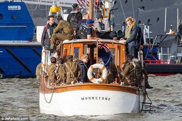 July 13: Playing soldiers getting rescued from their landing craft - Cillian Murphy, Barry Keoghan, Tom Glynn-Carney, Jack Lowden, Harry Styles, Mark Rylance on the set http://www.dailymail.co.uk/tvshowbiz/article-3689154/Oh-buoy-Harry-Styles-cuts-handsome-figure-sports-muddy-face-military-costume-film-WWII-action-thriller-Dunkirk.html