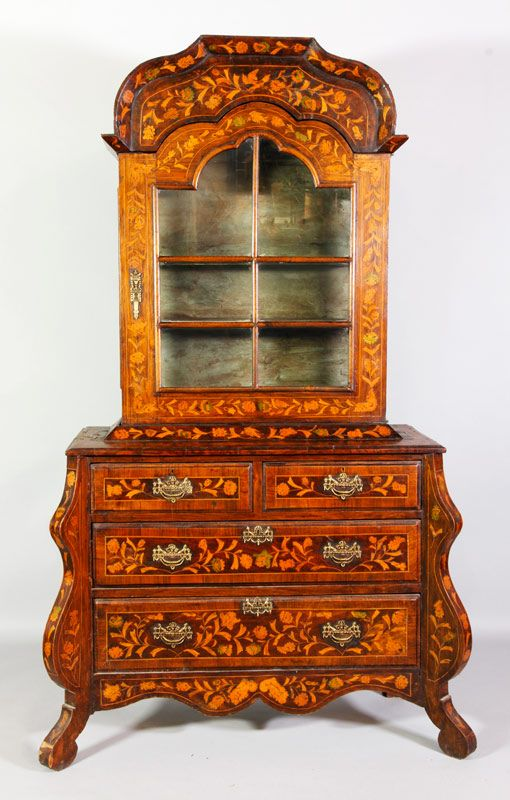Auctions | 3090A - 18th C. Dutch Marquetry Cabinet on Chest | Kaminski Auctions