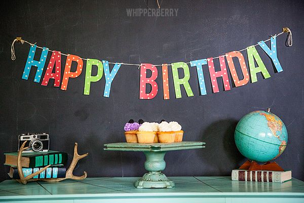 Printable Birthday Banner from #whipperberry using @tomkatstudio Shimmer Twine! Can be cut with scissors or your Silhouette!