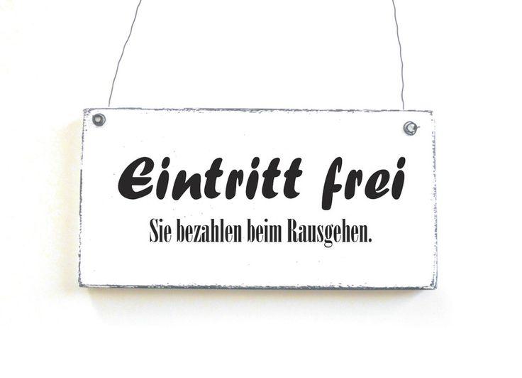 Türschild EINTRITT FREI Dekoschild Vintage Shabby von DÖRPKIND auf www.doerpkind.de