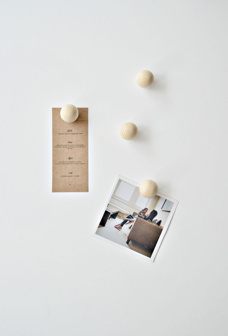 Minimal wooden DIY fridge magnets